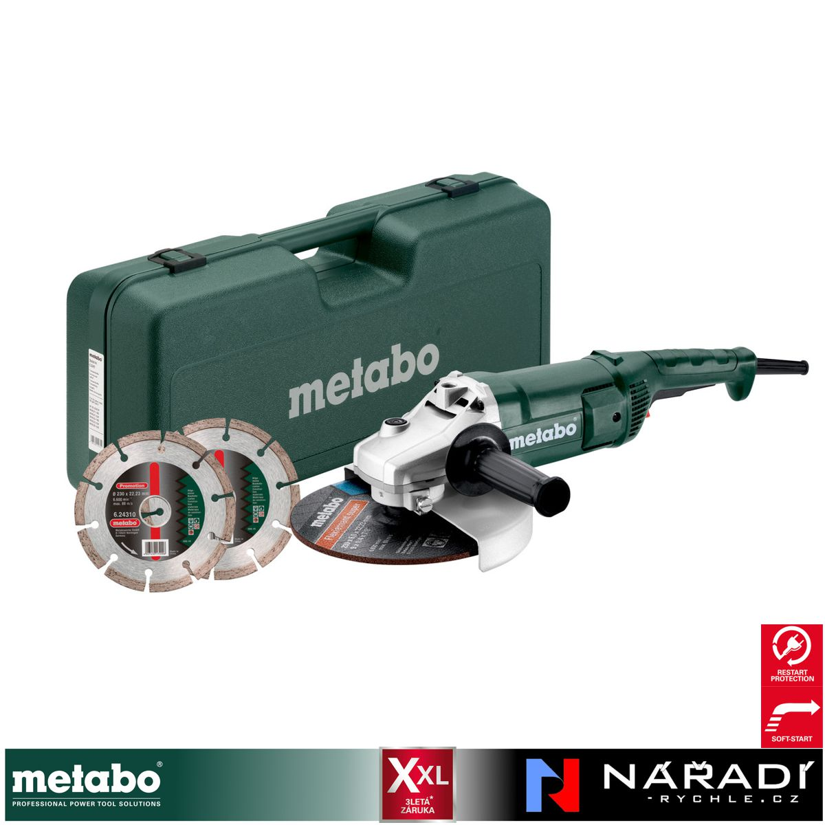 Úhlová bruska Metabo SET WE 2200-230, 2ks kotouč, kufr