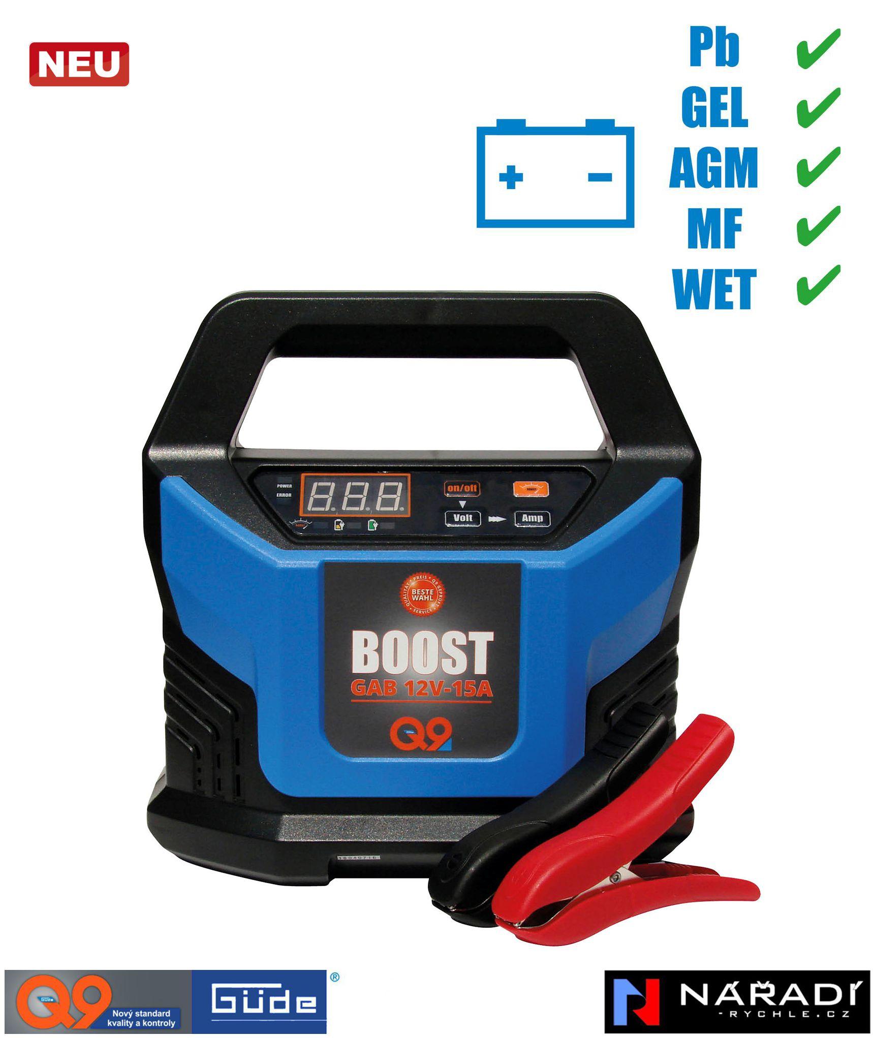 Automatická nabíječka baterií Güde GAB 15 A BOOST - 85143