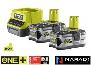 BATTERY PACK 2×5,0 Ah RYOBI RC18120-250, 18V ONE+